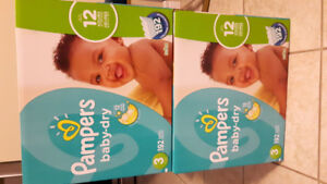 Pampers diapers size 3 and size 4 (largest box)