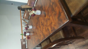 Wood dining table set with 6 chairs