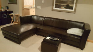 Almost New Leather Sectional