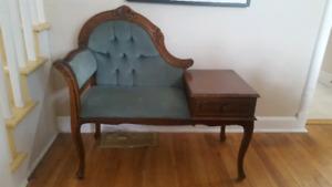 Antique telephone chair/gossip bench
