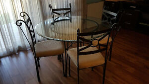 Glass Dining Table & Chair Set - Seats Four