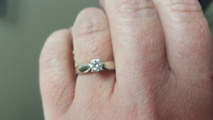 .25 carat white gold solitaire engagement ring, size 5