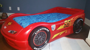 Race car toddler bed with mattress