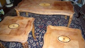 Coffee table occasional end tables carved inlaid table claw feet