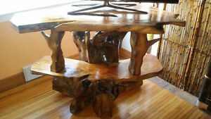 One of a kind exotic   wood carved tv stand