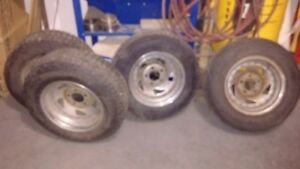 """chevy car 5 bolt x 4.75""""/121mm14x6 rims with winter tires"""