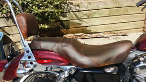 Brown Leather Genuine HD 2Up 4 Sportster,QUICK DETACH SISSY PAD