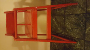 High chair red wooden