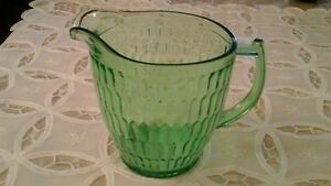 Green Glass Pitcher  or Jug - 1 Quart Size, Vintage Teleflora