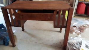 craftsman style wooden library desk