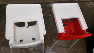 Two high chairs red and white