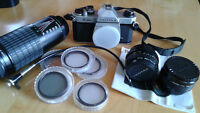 Pentax K1000 35mm SLR Camera With Lenses And Accessories