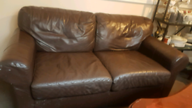 two seater Brown leather seater