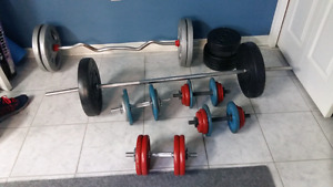 Dumbells,barbells,and weights.