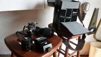 35mm Canon camera, telephoto lens,case& flash
