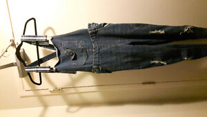 WOMENS BLUE DENIM OVERALLS size S