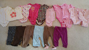 3-6 months girl's T's and pants