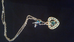 REDUCED! Aquamarine Heart Pendant/Earring Set