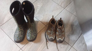 Rubber boots (SOLD) & Merrell sneakers