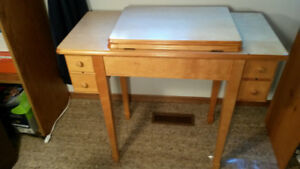 SMALL TABLE with 4 DRAWERS and covered STORAGE SHELF