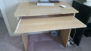 Computer table with leather chair and mat for sale