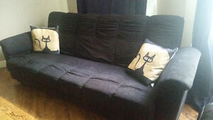Convertible 3 Seat Black Couch to Bed