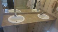 Bathroom counter top and double sinks