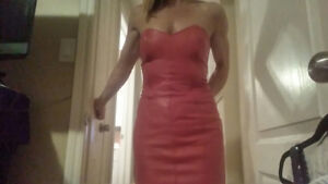 Red strapless leather dress/jacket set
