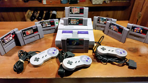 Snes system with 3 controllers mario allstars tetris 2 pto