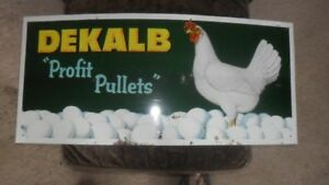 VINTAGE DEKALB PROFIT PULLETS TIN SIGN