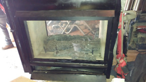 Double sided propane fireplace