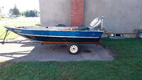 16 ft deep and wide fishing boat on trailer with 20 hp longshaf
