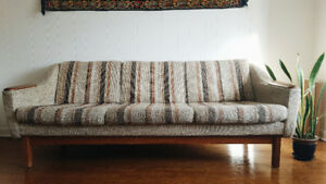 Mid Century Modern Sofa and Armchair (w/ wood accents)