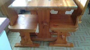 Solid pine kitchen table, chairs, and stand.