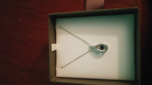 Silver and Sapphire pendant and necklace Windsor Region Ontario image 1