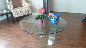 Beautiful contemporary glass coffee table and end table