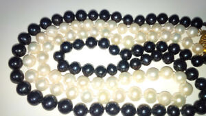 Genuine Black and White Akoya Salt Water Pearl Necklace