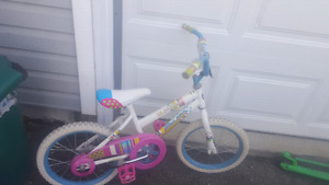 Girls bicycle  with training wheels