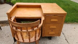 Large Vintage Desk and Chair
