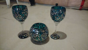 Decorative mosaic bowl and glasses