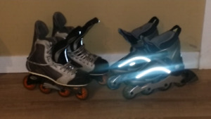 Men's Nike Size 12 and Women's K2 size 9.5 Rollerblades
