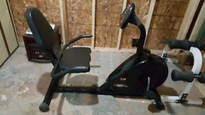 Recumbent exercise bike.