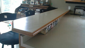 Oak edged laminate bar counter