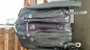 Ladies leathers complete package. Coat , vest , chaps , gloves