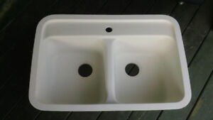 Corian Solid Surface Undermount White Double Sink