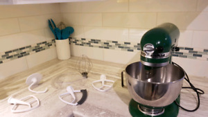 Green Kitchenaid Mixer with mixing attachments