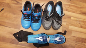 Boys Soccer Shoes and Shin Guards
