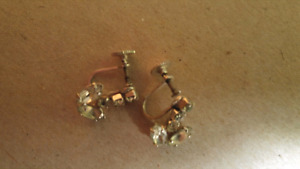 Vintage teardrop crystal screw back earrings