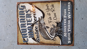Monster fish tin sign