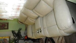 Cream coloured leather Couch and Loveseat -Recliner